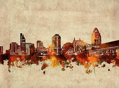Abstract Skyline Royalty-Free and Rights-Managed Images - Cincinnati Skyline Sepia by Bekim M