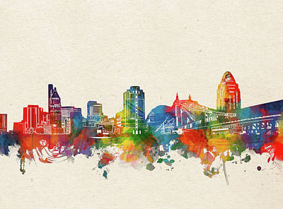 Abstract Skyline Royalty-Free and Rights-Managed Images - Cincinnati Skyline Watercolor by Bekim M