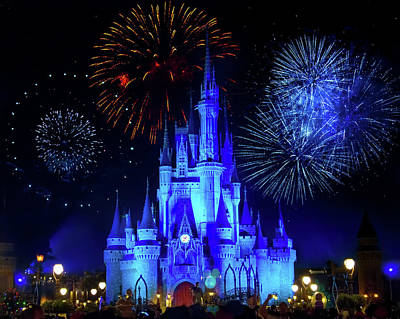Fantasy Royalty-Free and Rights-Managed Images - Cinderella Castle Fireworks by Mark Andrew Thomas