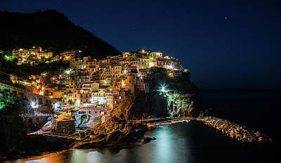 Photograph - Manarola At Night by Jaroslaw Blaminsky