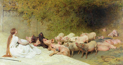 Briton Wall Art - Painting - Circe And The Companions Of Ulysses by Briton Riviere