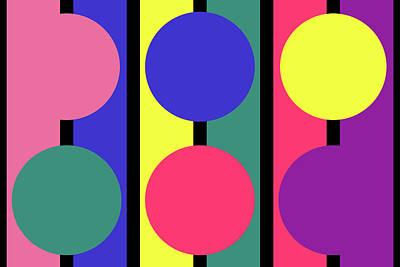 Digital Art - Circle Stripe - Spring - On Black by REVAD David Riley