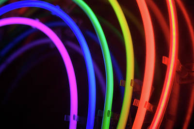 Gay Rights Wall Art - Photograph - Circles Of Neon Rainbow Light by Peskymonkey