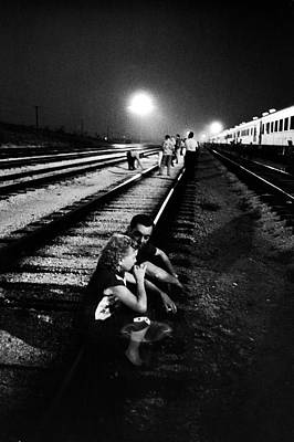 Photograph - Circus People On Railroad Tracks by Alfred Eisenstaedt
