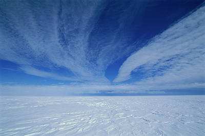 Photograph - Cirrus Clouds Above Icy Plateau by Grant Dixon/ Hedgehog House/ Minden Pictures