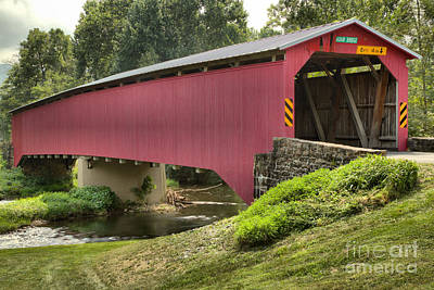Photograph - Cisna Mill Covered Bridge Over Sherman Creek by Adam Jewell