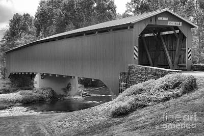 Photograph - Cisna Mill Covered Bridge Over Sherman Creek Black And White by Adam Jewell