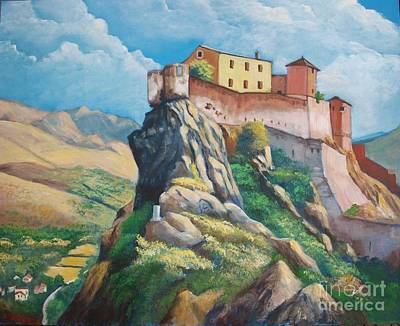 Painting - Citadelle De Corte, Corsica by Jean Pierre Bergoeing