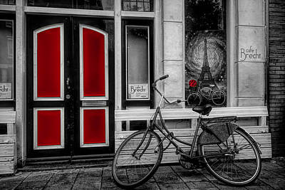 Photograph - City Bike Downtown Black And White Color Selected Red by Debra and Dave Vanderlaan