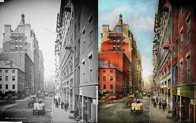 Photograph - City - Boston Ma - State St 1905 - Side By Side by Mike Savad