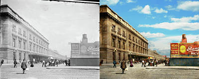 Photograph - City - Chicago Il - Can't Be Late For The Train 1911 - Side By Side by Mike Savad