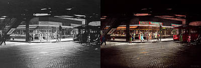 Photograph - City - Chicago Il - Maple Leaf Restaurant And Candies 1940 - Side By Side by Mike Savad