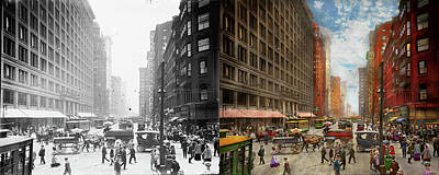Photograph - City - Chicago Il - Marshall Fields Company 1911 - Side By Side by Mike Savad