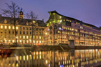 Photograph - City Hall And Police In The Blue Hour by Frans Blok