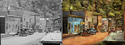 Photograph - City - Mogollon Nm - Before The Ghosts 1940 - Side By Side by Mike Savad