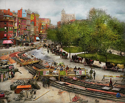 Photograph - City - New York - Laying The Track 1891 by Mike Savad