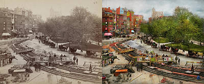 Photograph - City - New York - Laying The Track 1891 - Side By Side by Mike Savad