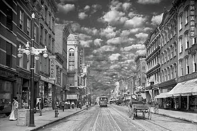 Photograph - City - Ny - Main Street Poughkeepsie, Ny - 1906 - Black And White by Mike Savad
