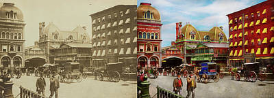 Photograph - City - Ny - The Grand Central Depot 1890 - Side By Side by Mike Savad