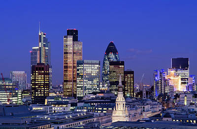 Photograph - City Of London Skyscrapers At Night by Dynasoar