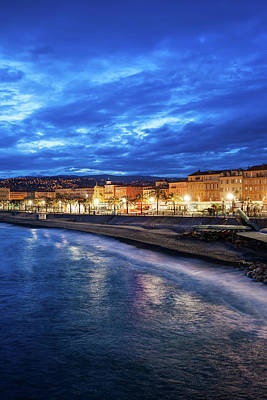 Photograph - City Of Nice At Blue Hour Evening In France by Artur Bogacki