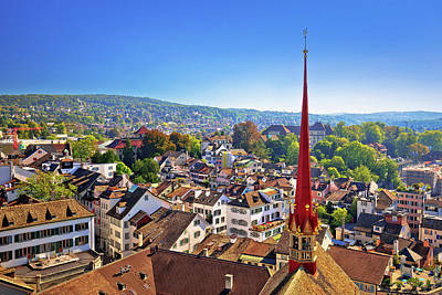 Vintage Chevrolet - City of Zurich rooftops and cityscape aerial view by Brch Photography