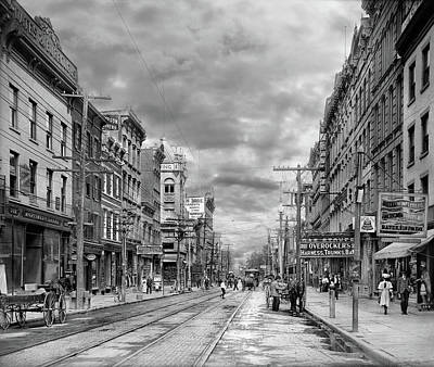 Photograph - City - Poughkeepsie Ny - The Ever Changing Market Place 1906 - Black And White by Mike Savad