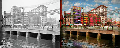 Photograph - City - Providence Ri - Crawford Street Bridge 1906 - Side By Side by Mike Savad
