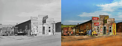 Photograph - City - Questa Nm - Free Air And More 1939 - Side By Side by Mike Savad