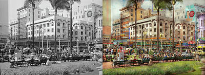 Photograph - City - San Diego Ca - A Busy Street Corner 1941 - Side By Side by Mike Savad