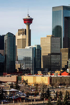 Photograph - City Skyline From A Hill Top On A Winters Morning, Calgary, Albe by David Butler