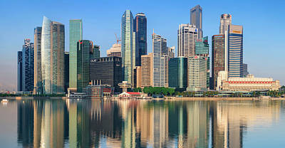 City Skyline - Singapore After Sunrise Art Print by Hadynyah
