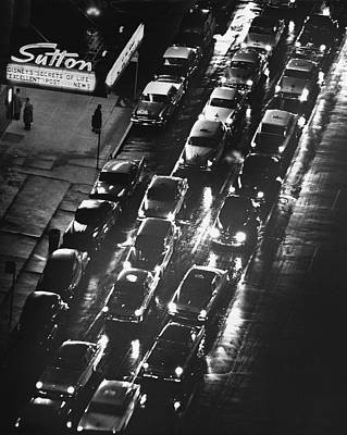 Photograph - City Sreet W Cars On A Rainy Night by George Marks
