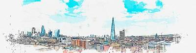 Landmarks Painting Royalty Free Images - cityscape, c 2019 watercolor, by Adam Asar Royalty-Free Image by Adam Asar