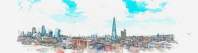 Landmarks Painting Royalty Free Images - Cityscape - San Francisco 45 -  watercolor by Ahmet Asar Royalty-Free Image by Celestial Images