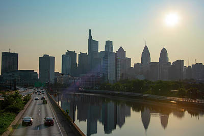 Photograph - Cityscape Sunrise - Philadelphia From South Street  by Bill Cannon