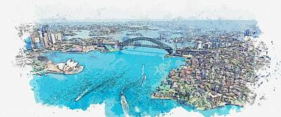 Abstract Skyline Rights Managed Images - Cityscape Sydney  46 -  watercolor by Ahmet Asar Royalty-Free Image by Celestial Images