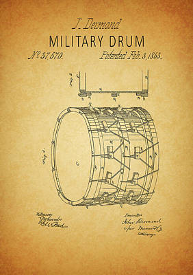 Drawing - Civil War Military Drum by Dan Sproul