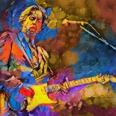 Music Paintings - Clapton Plays The Blues by Dan Sproul