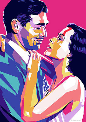 Colorful Button - Clark Gable and Hedy Lamarr by Stars on Art