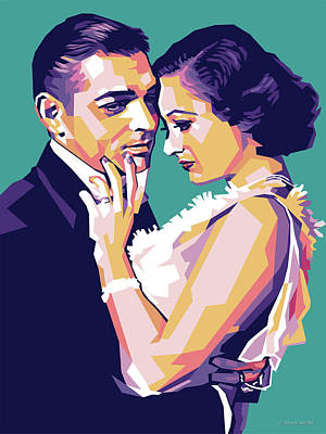 Vintage Diner Cars - Clark Gable and Joan Crawford by Stars on Art