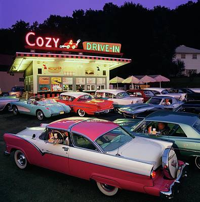 Photograph - Classic 1950s And 1960s Cars In Front by Car Culture