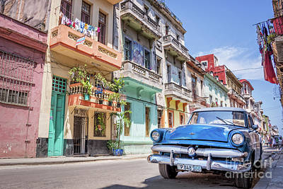 Beach Royalty-Free and Rights-Managed Images - Classic car in Havana, Cuba by Delphimages Photo Creations