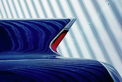 Photograph - Classic Car Tail Fin Against Corrugated by B&m Noskowski