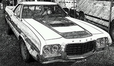 Digital Art - Classic Ford Sketch by JLowPhotos