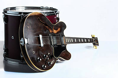 Photograph - Classic Light Gibson Guitar Image With Drum 1744.006 by M K Miller