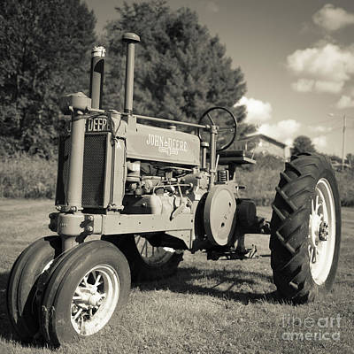 John Deere Wall Art - Photograph - Classic Old Tractor Stowe Vermont Square by Edward Fielding