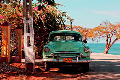 On The Move Photograph - Classic Oldtimer Car At Beach Road by Merten Snijders