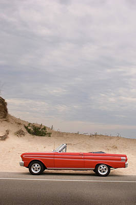 Photograph - Classic Red Convertible In The Desert - by Bradwieland