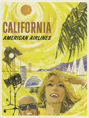Royalty-Free and Rights-Managed Images - Classic Travel Poster - California by Esoterica Art Agency